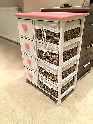 White Wood Wicker Basket Storage Unit Chest Of Drawer Bedside Table Lamp Cabinet