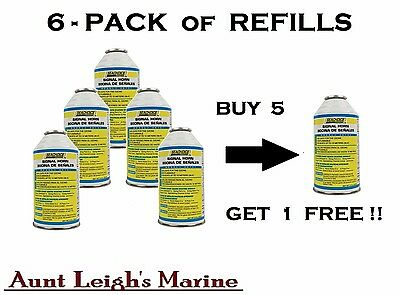 6-Pack Seachoice Air Horn Signal Refills 8 oz Canisters (Buy 5 Get 1 Free) 46101