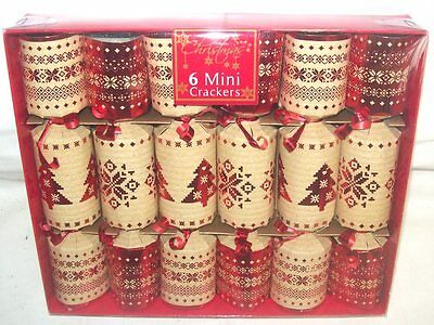 Pack Of 6 Luxury Mini Foiled Christmas Crackers Beige Red Nordic Snowflake Tree
