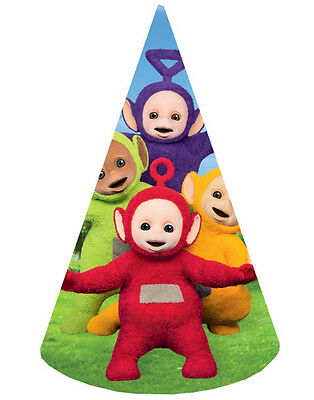 8 x Teletubbies La La & Po Birthday Party Cone Shaped Hats