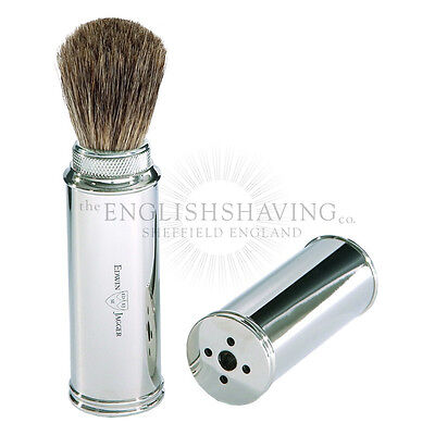Edwin Jagger Nickel Travel Shaving Brush (Pure Badger) [BOXED, NEW]
