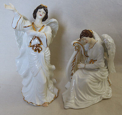 2000 Collector O'WELL Grandeur Noel (2) Porcelain Angel Set Christmas Harp XMAS