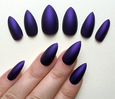 Hand Painted False Nails STILETTO Full Cover Matte Purple HALLOWEEN Fancy Dress