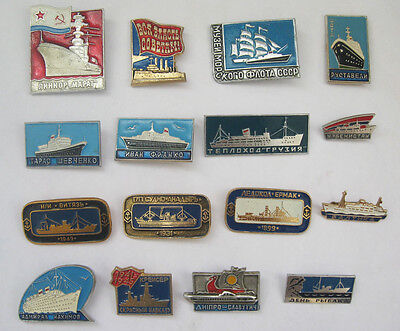 Soviet vintage pins 16 ships boats cruisers badges USSR icons