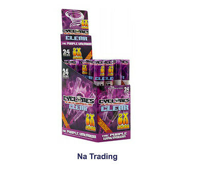 PURPLE UNKNOWN Flavored CYCLONES - 24 packs/48 PreRolled CLEAR Cigar Tube Cones