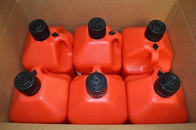 Racerdirect.net Case ( 6 ) 5 Gallon Utility Fuel Dump Jugs With Fill Hose Red