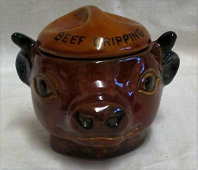 Vintage Szeiler Studio Pottery Beef Dripping Cow Face Pot