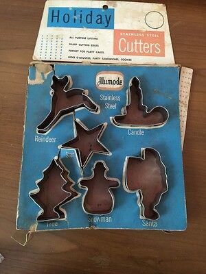 Vintage Set of 6 Alumode Stainless Steel Cookie Cutters  Box Holiday Christmas
