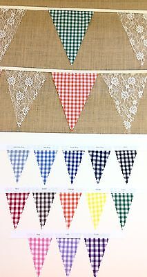 Fabric Bunting Gingham & Lace - PYO Colours and Length From 1m - wedding party