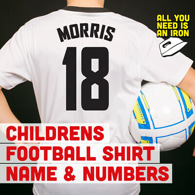 Kids Personalised Player Name and Number Iron on Vinyl Transfer