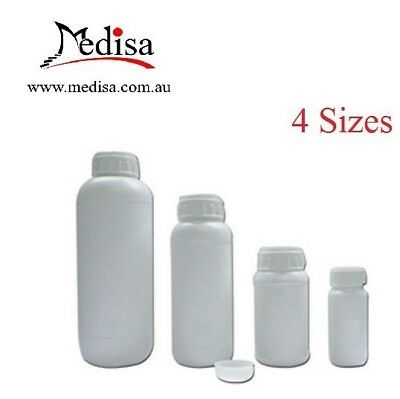 Plastic Storage Bottles, Cylindrical, Graduated with Screw Cap & Inner Stopper
