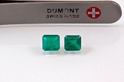 5mm Square Matched Pair Natural Colombian Emeralds Loose Gemstones