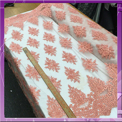 48 in w Hand beaded Coral Fabric by the yard