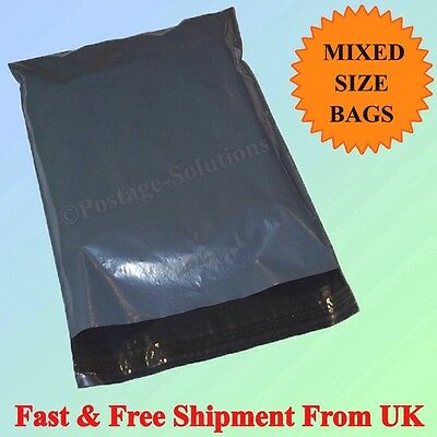 100 MIXED MAIL BAGS GREY PLASTIC PARCEL PACKAGING 12 x 16 and 10 x 14 CHEAP!!!!