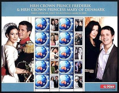 2005: Sheetlet - Royal Visit - Crown Prince Frederick Princess Mary of Denmark