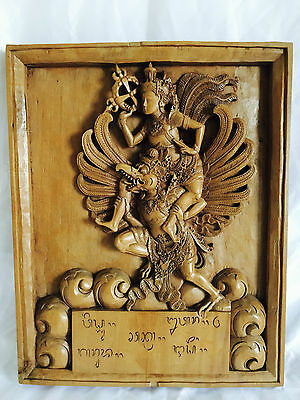Vintage Hand Carved Wooden Panel of Lord Vishnu, Riding on Garuda.