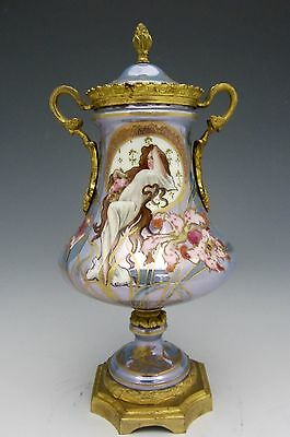 SEVRES Style ART NOUVEAU Hand Painted GILT BRONZE Ormolu URN signed FRANCE