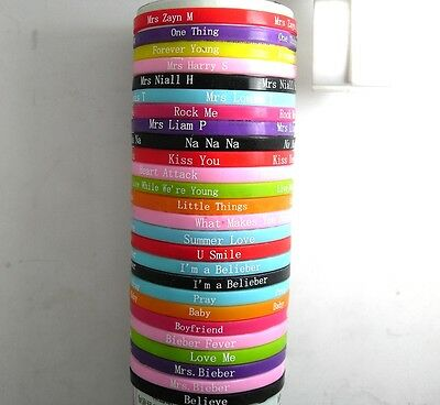 100pcs one D belieber little girls fans music Bracelets wristband birthday party