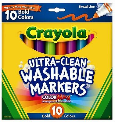 10 Ultra Clean Washable Broad Line Markers Bold Colors from Crayola 58-7853