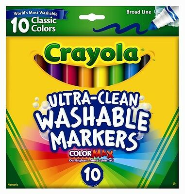 10 Ultra Clean Washable Broad Line Markers Classic Colors from Crayola 58-7851
