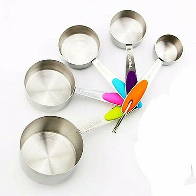 5 Pc MEASURING CUP SET -Stackable Stainless Steel Non Slip With Soft Handles