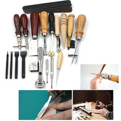 Pro 18pcs Leather Craft Tools Kit Sewing Hand Punch Skiving Edge Beveler Groover