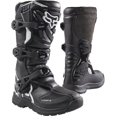 NEW Fox Racing 2017 Mx Kids Comp 3 Black Dirt Bike Youth Motocross Boots