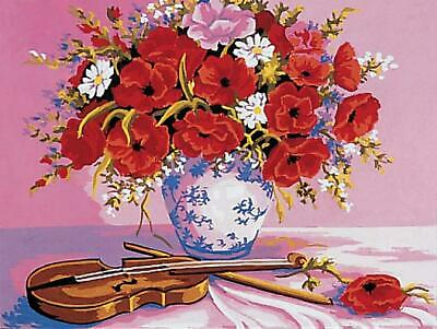 Grafitec Printed Tapestry/Needlepoint Canvas – Poppies & Violin