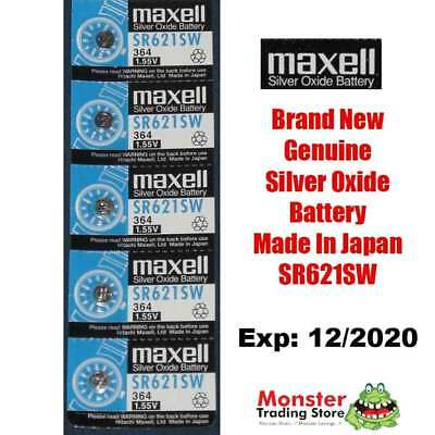 5 Pcs Maxell Sr621Sw 364 1.55V Silver Oxide Battery Made In Japan For Watch New