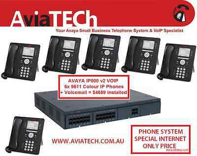 NEW Avaya IP500 v2 Phone System + 6x 9611 Colour VoIP Phones & Voicemail