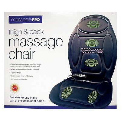 Thigh & Back Massage Pro Chair for Car Office or Home 5 Program Modes Heat- NEW
