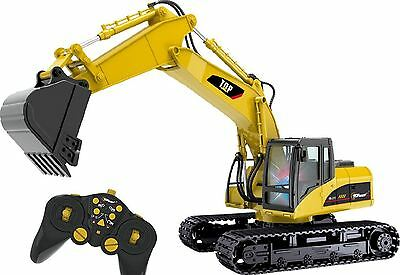 RC Excavator Hydraulic Remote Control Battery Powered Digger Backhoe Toy Metal