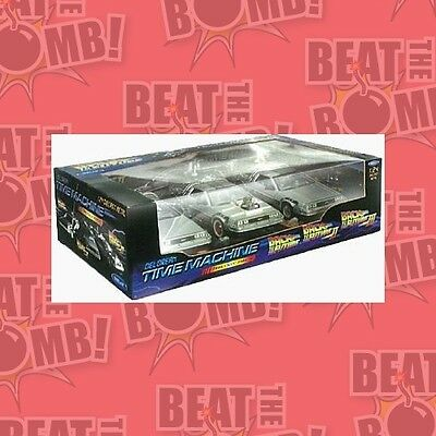 Back To The Future Trilogy Delorean Set 1:24 Scale Die Cast  - BRAND NEW