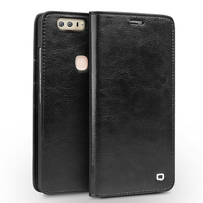 QIALINO Genuine Leather Wallet Crazy Horse Grain Case for Huawei Honor 8