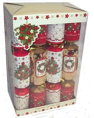 Pack Of 12 Family Christmas Crackers 30cm x 5cm - Traditional Tree & Wreath
