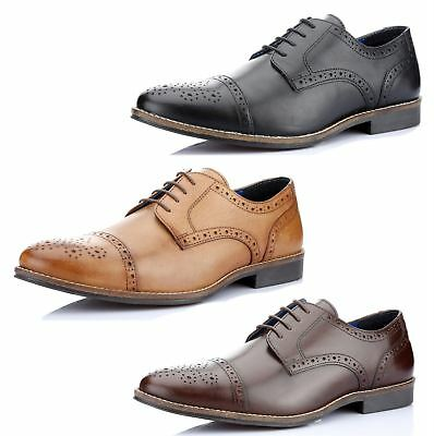 Red Tape Claydon Mens Leather Lace Up Brogue Formal Shoes Tan Brown Black