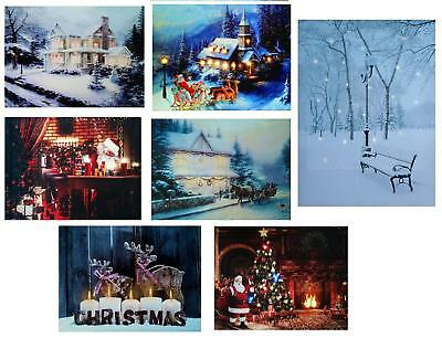 LED Light up Christmas Canvas Pictures 30cm x 40cm Xmas Picture