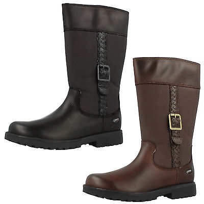 Girls Clarks Rhea Go GTX Black Or Brown Leather & Textile Waterproof Long Boots