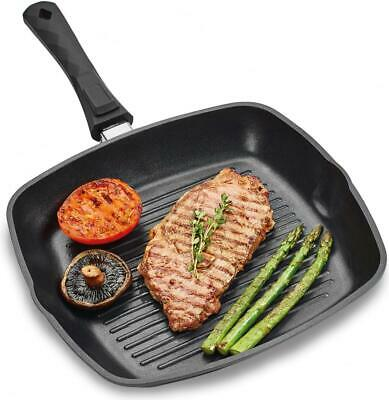 Andrew James Deluxe Griddle Pan, Grill Frying Non-Stick Pan Detachable Handle
