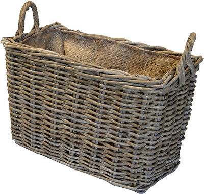 The Cottered - Hessian Jute Lined Compact Rattan Wicker Basket - FIR224