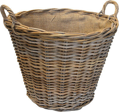 The Sandon - Round Tapered Fully Lined Rattan Wicker Basket - FIR222