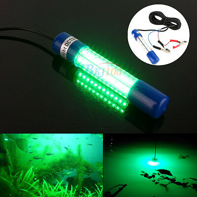 12V Green Night LED Underwater Boat Submersible Fishing Fish Lure Clip on Light