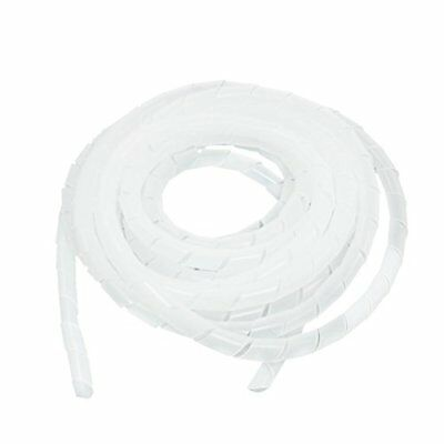 12mm x 5M Spiral Wrap Wrapping Band Wire Cable Zip Organizer White New