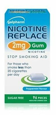 Galpharm Nicotine Replace 2mg Gum Peppermint Flavour 96 Pieces Stock Smoking Aid