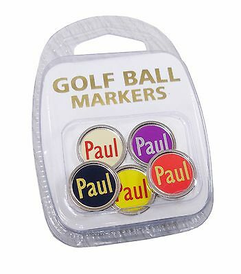 Best Impressions Personalised FLAT Golf Ball Markers in a pack of 5 Colours