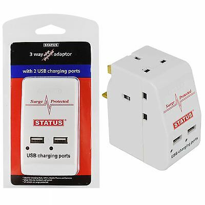3 Way Surge Protected Plug Adaptor Safe UK Mains Socket 2 USB Charging Ports