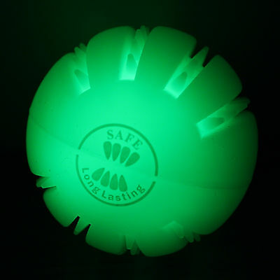 USB Light Up Dog Ball rechargeable, LED, green, pet, durable, silicone