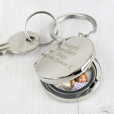Personalised Engraved Round Photo Frame Keyring Christmas, Birthday, Mum, Dad