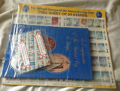 America's Cup Stamp 1987 Set+Full Sheet 0F 50 Stamps+Encyclopaedia Book- Sealed