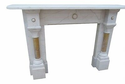 Large Gothic Victorian White Carrara & Sienna Marble Fire Surround Mantle